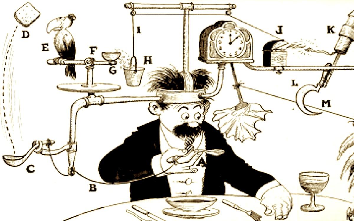 Self-operating napkin Rube Goldberg machine