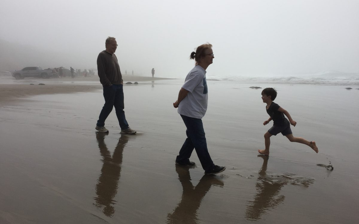 Kid with Grandparents on the Beach